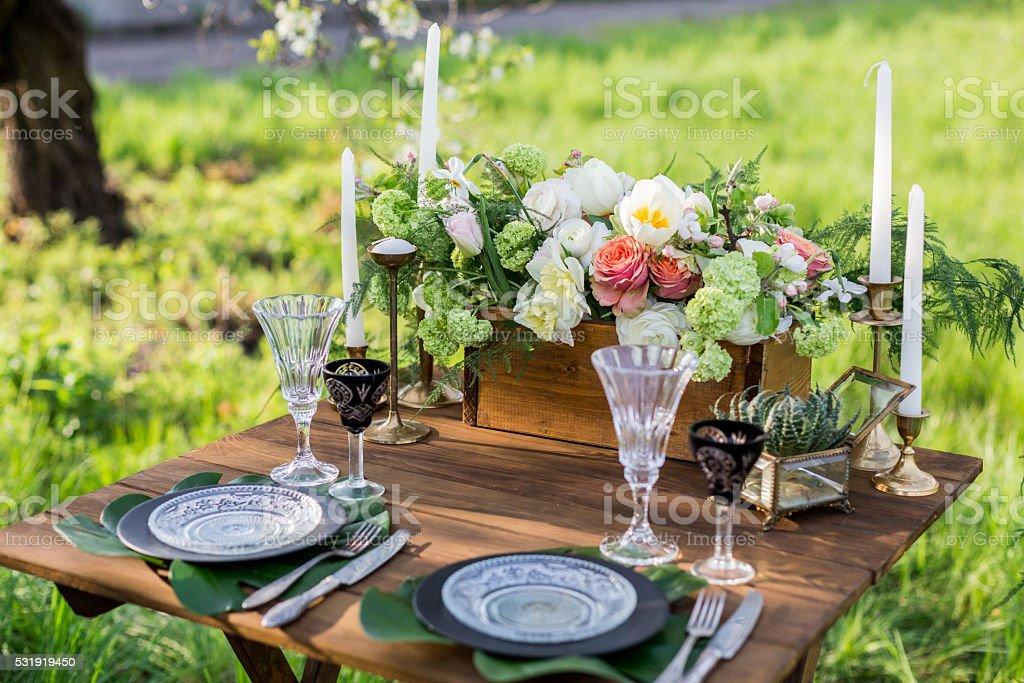 Wedding decor. Table for the newlyweds stock photo
