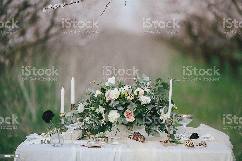Wedding decor table stock photo