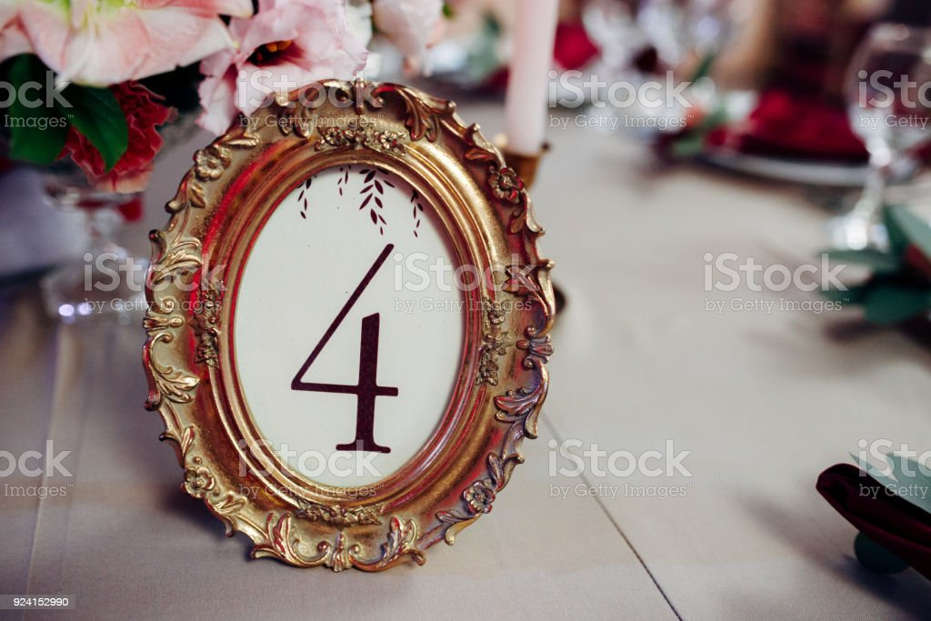 Wedding Decor With Table Number In Golden Frame Stock Photo More