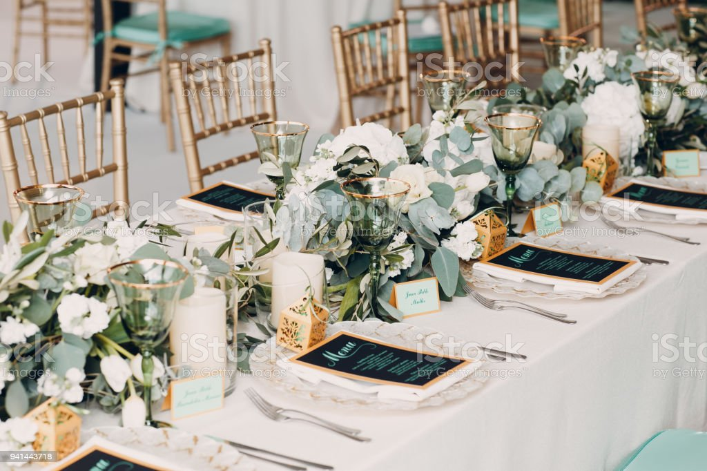 Wedding Decor With White And Green Colors Stock Photo More