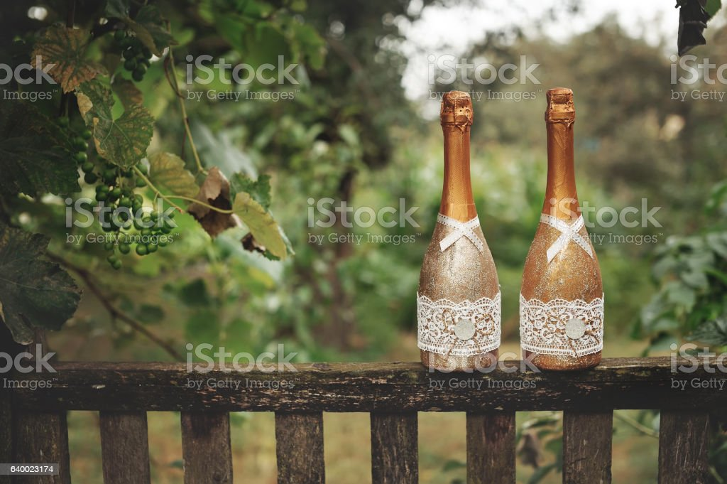 Wedding decorated champagne at countryside stock photo