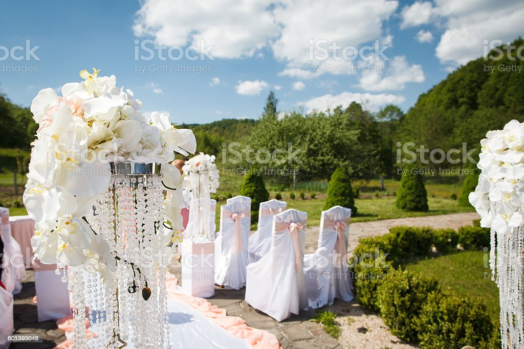 Wedding Decoration From White Orchid For Wedding Outdoor Ceremon