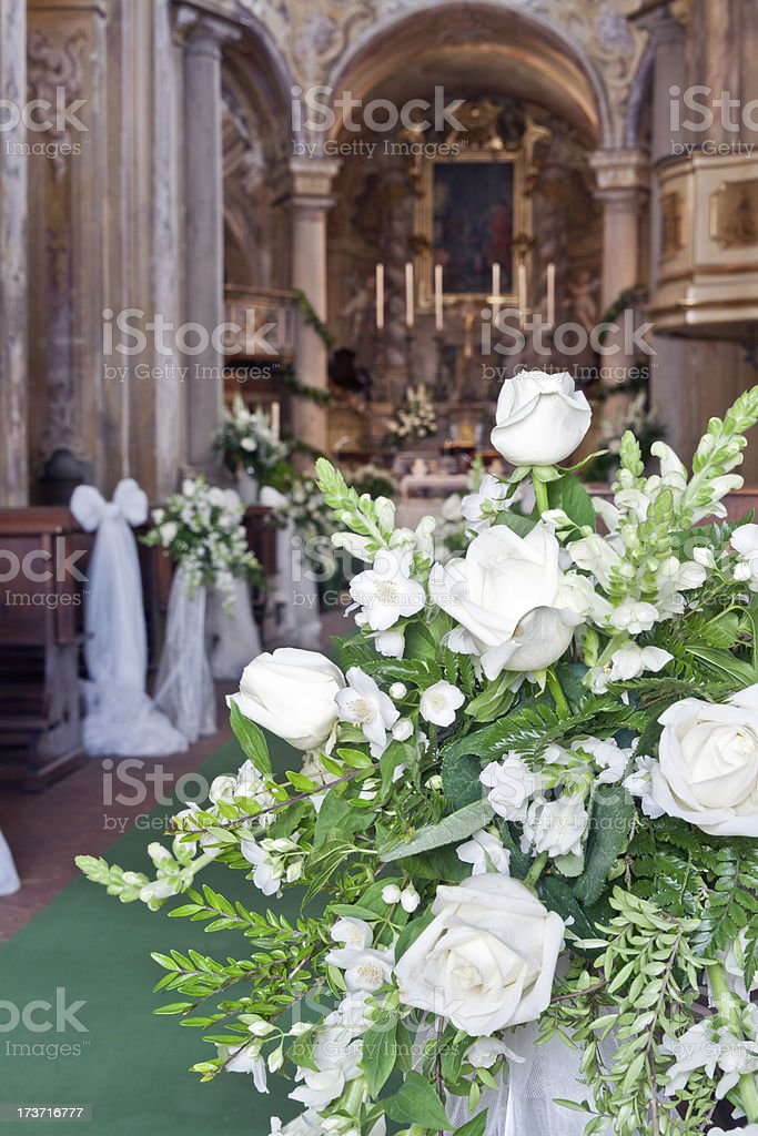 wedding decoration in a church royalty-free stock photo