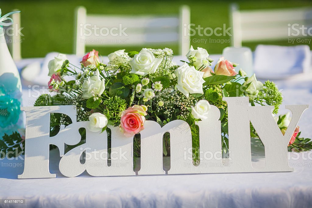 Wedding decoration in forest stock photo