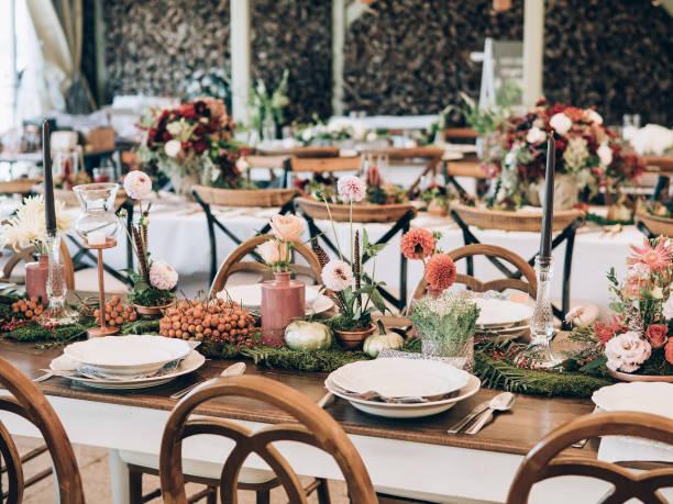 Wedding decoration. Table set at wedding. stock photo