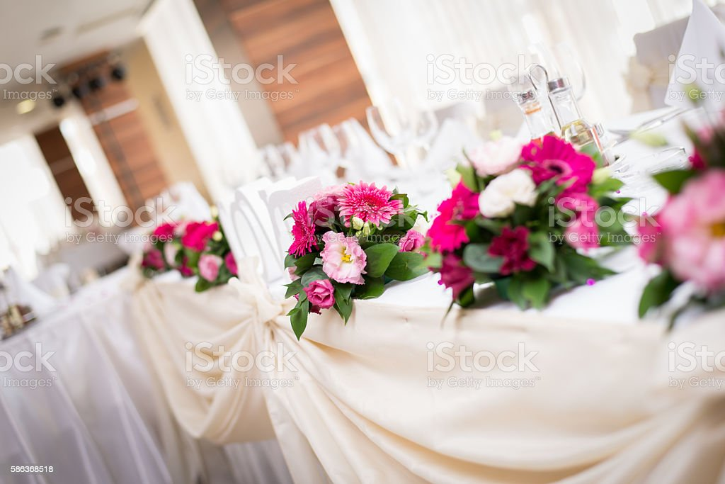 Wedding Decoration Table with Rose Flower stock photo
