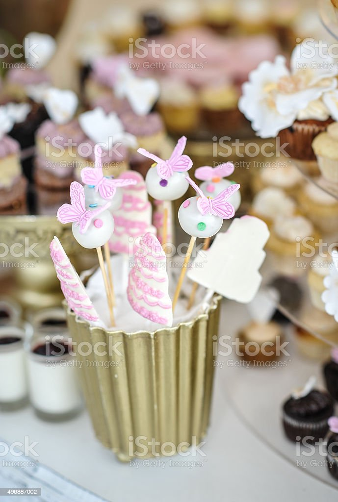 Wedding Decoration With Pastel Colored Cupcakes Stock Photo More