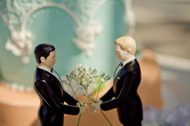 A wedding decoration with two grooms stock photo