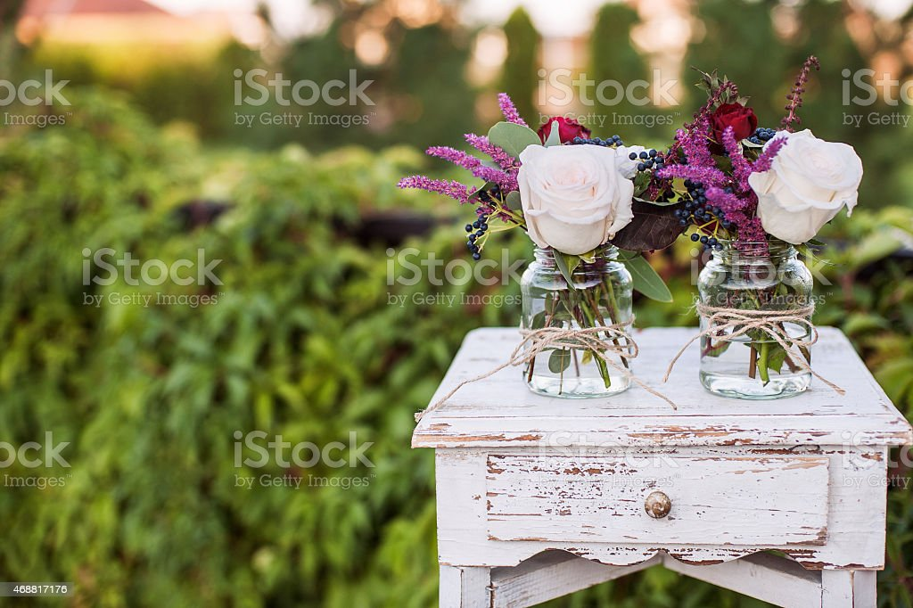 Wedding decorations for a ceremony held outside stock photo