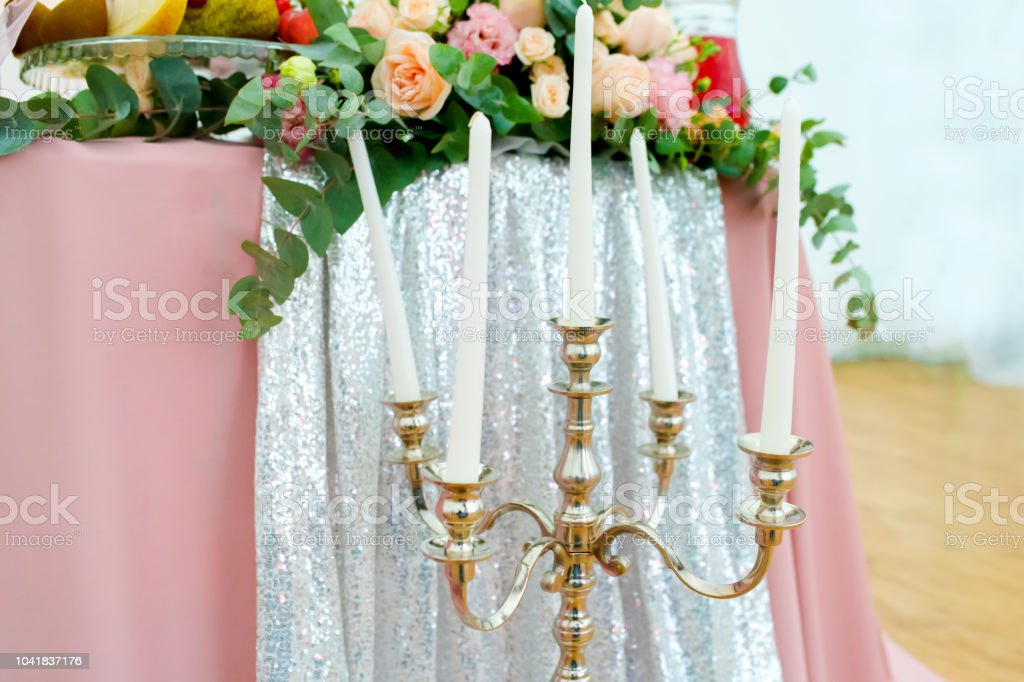 Wedding Decorations Fresh Beautiful Pink Flowers And White Candles