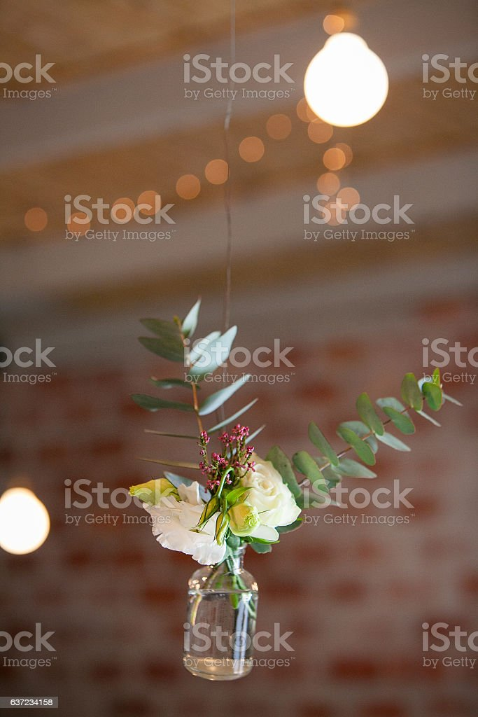 Wedding decorations hanging from the ceiling stock photo