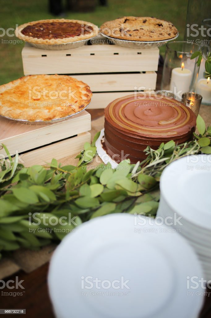 Wedding Dessert Bar with Cookies, Cakes, and Pies Rustic Wedding...