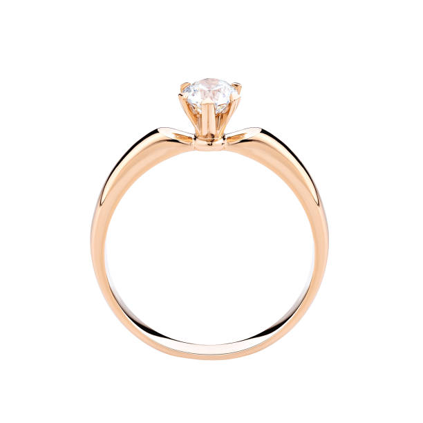 Wedding diamond ring isolated on a white background stock photo
