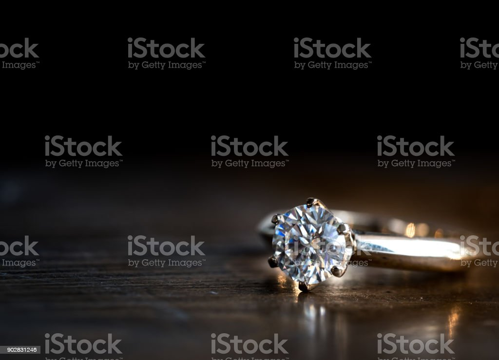 Wedding diamond ring stock photo