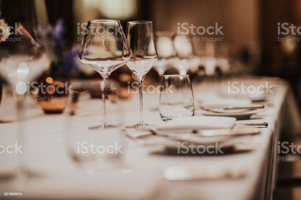 Wedding dinner table stock photo