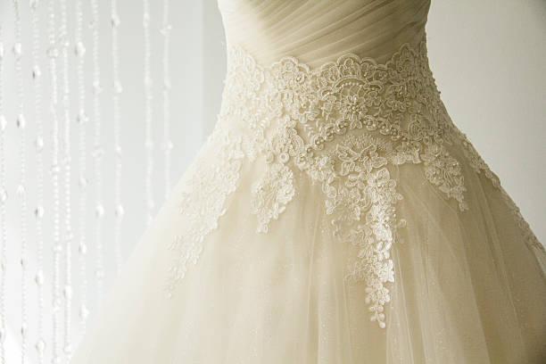 Wedding dress detail. stock photo
