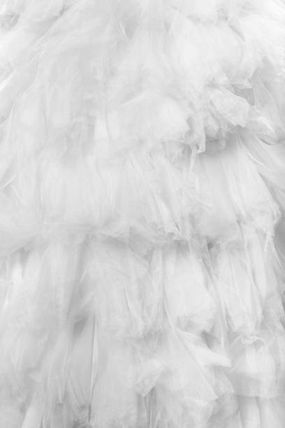 wedding dress detail - tüllkleid stock-fotos und bilder
