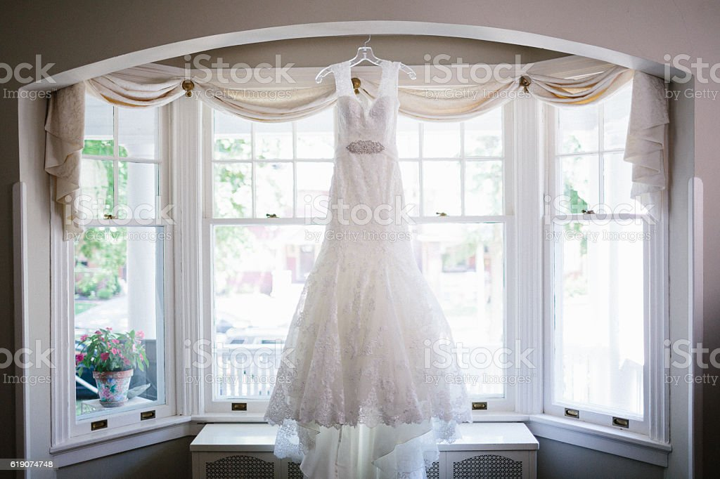 Wedding Dress Hanging stock photo