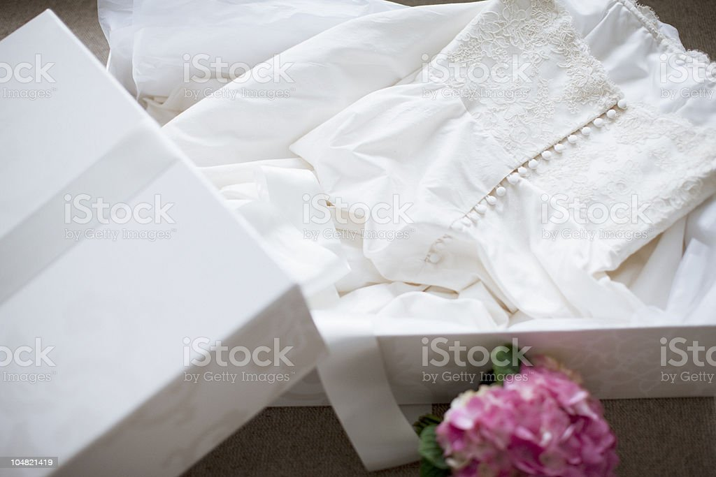 Wedding dress in box stock photo