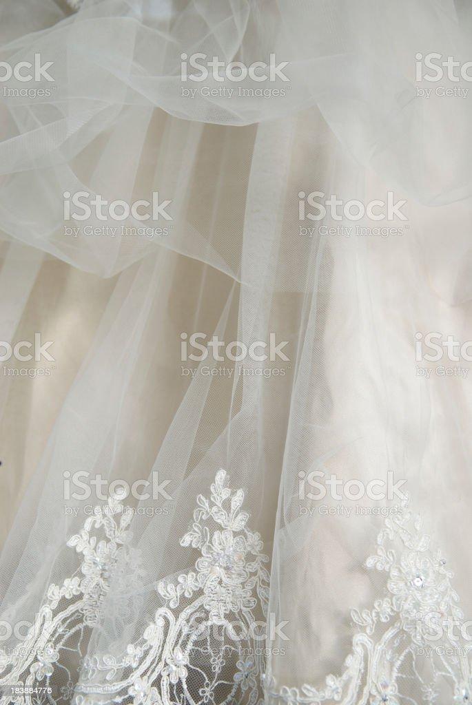 Wedding Dress Lace Chiffon Detail Vertical stock photo