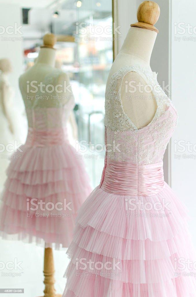 Wedding dress on pink tone royalty-free stock photo