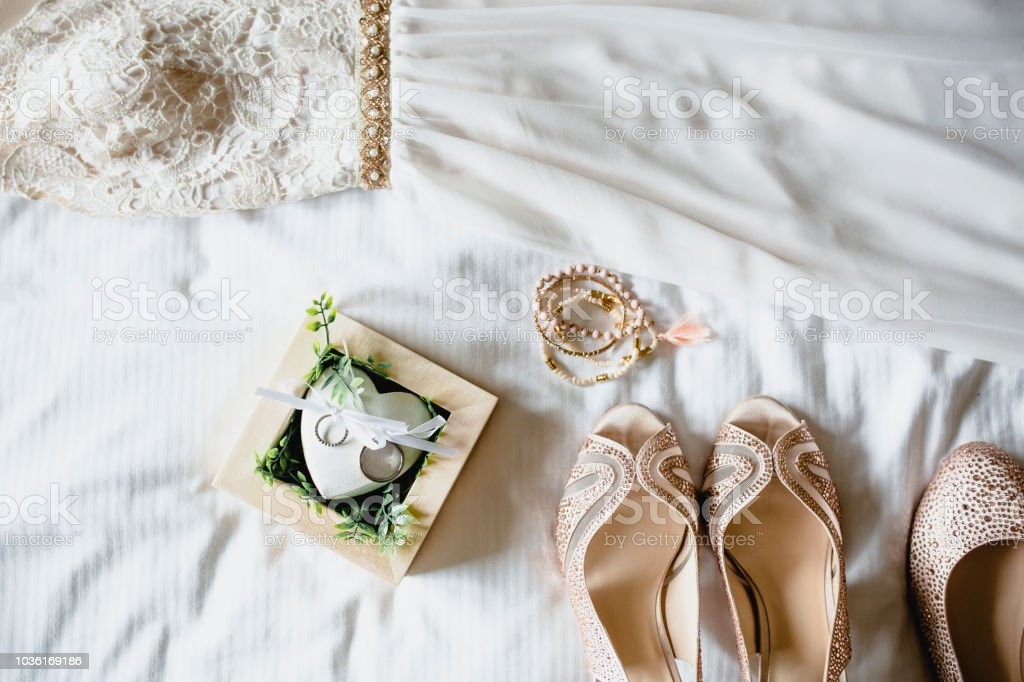 Wedding Dress Shoes And Wedding Rings Stock Photo Download Image
