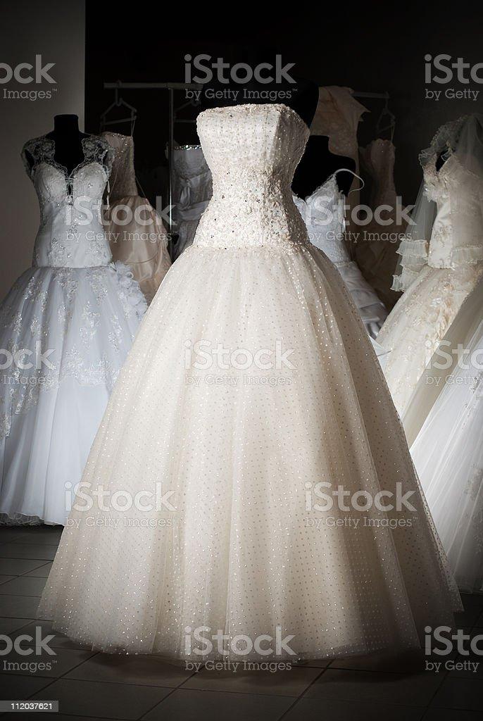 Wedding dress shop stock photo