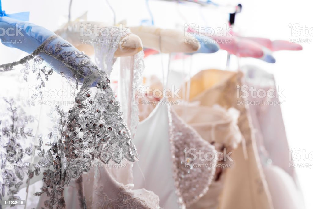 Wedding dress shopping stock photo
