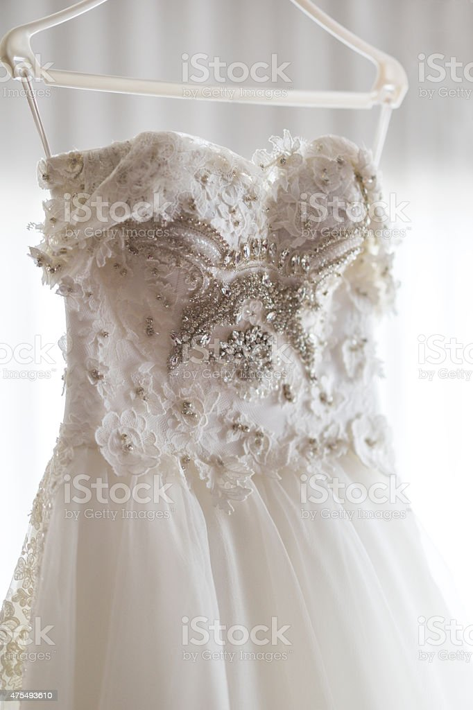 Wedding dress with beads stock photo
