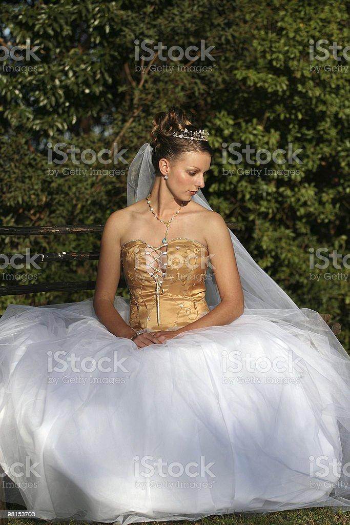 Wedding dress with model royalty-free stock photo