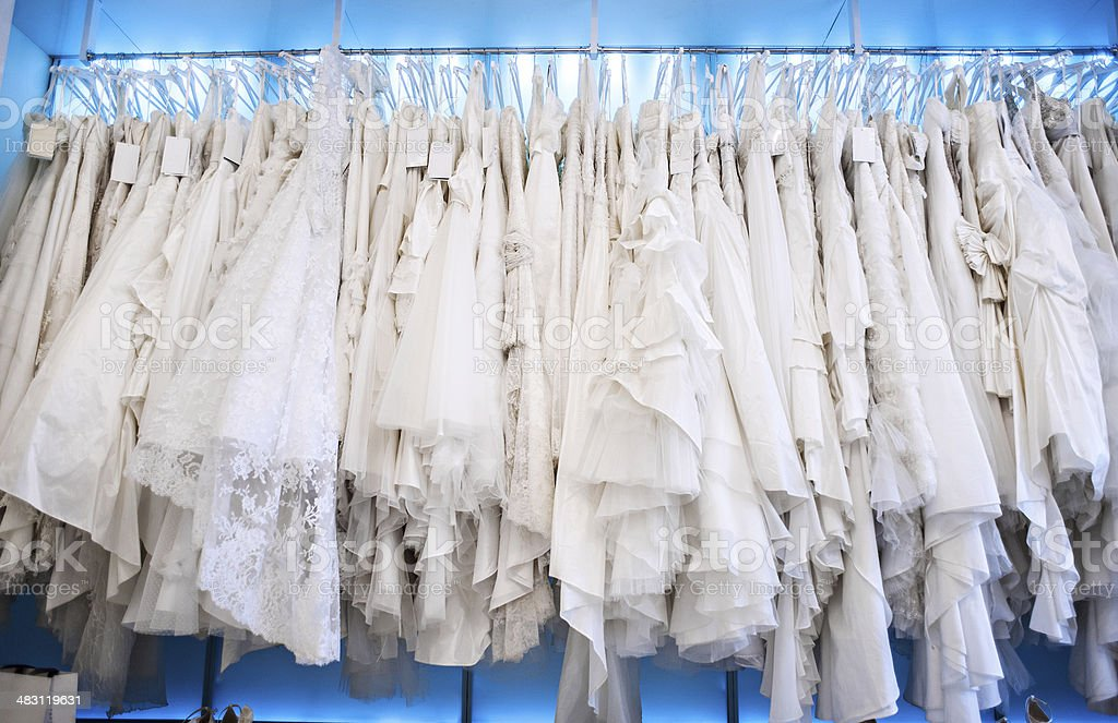 Wedding dresses in a shop stock photo