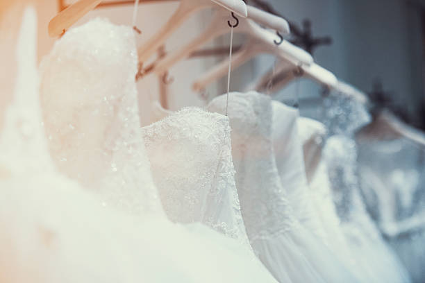 Wedding dresses in detail stock photo