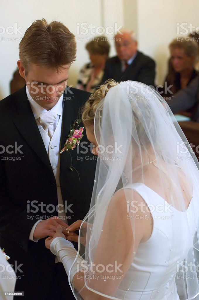 wedding: exchanging bands royalty-free stock photo