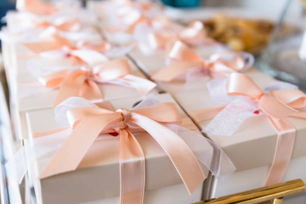 wedding favor for wedding guest stock photo
