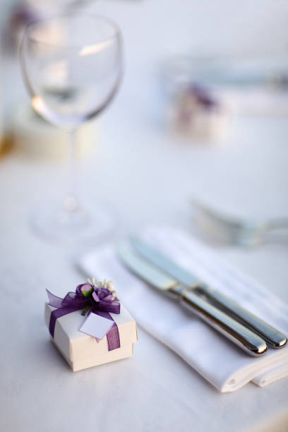 Wedding Favor with Table Setting - foto stock