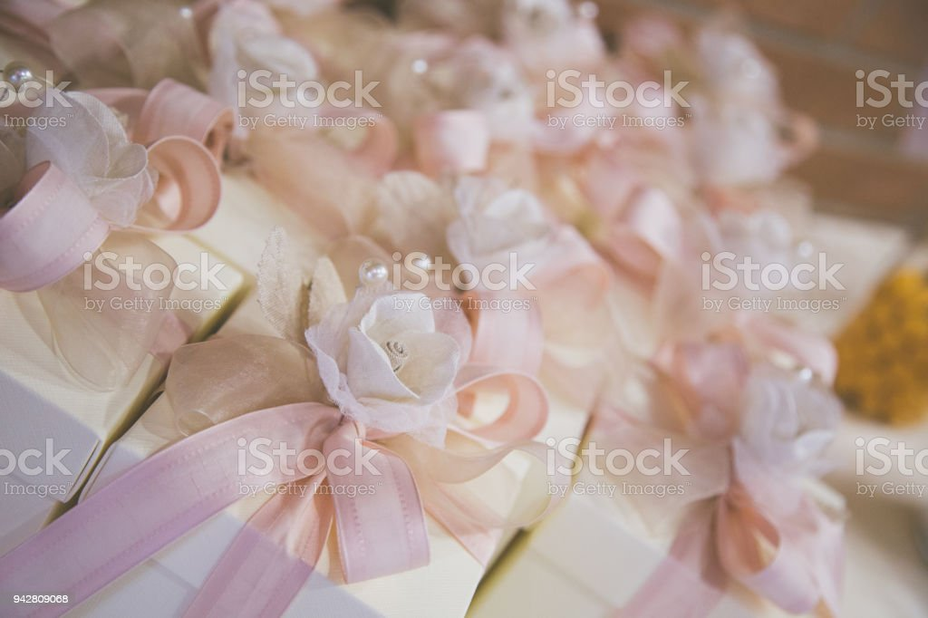 Stock Bomboniere Matrimonio.Bomboniere Matrimonio In Primo Piano Stock Photo Download Image