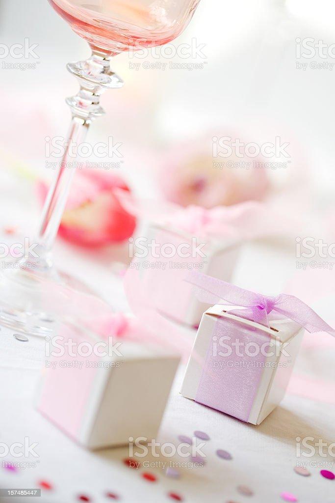 Wedding Favors & Wine Glasses royalty-free stock photo