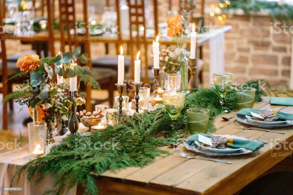 Wedding Floral Design Treat Concept Amazing Decor Of Restaurant Table For Lovers On Corners Of It There Are Bouquets Of Nice Flowers And At The Center Of Table There Are Branches Of