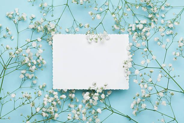 wedding floral mockup with paper note, flowers gypsophila. flat lay. - diseños de bodas fotografías e imágenes de stock