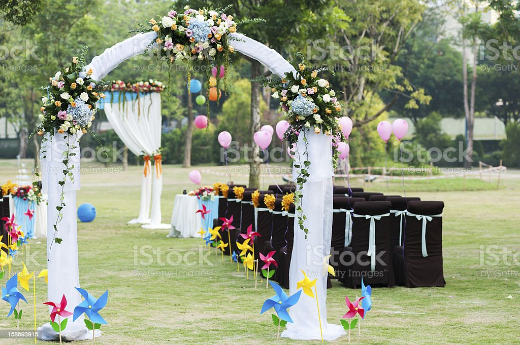 Wedding flower arch stock photo