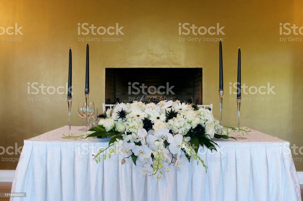 Wedding Flower Arrangement Bride And Groom Table Stock Photo Download Image Now Istock
