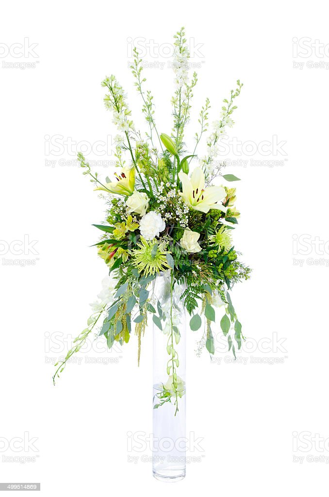 Wedding flower arrangement centerpiece stock photo