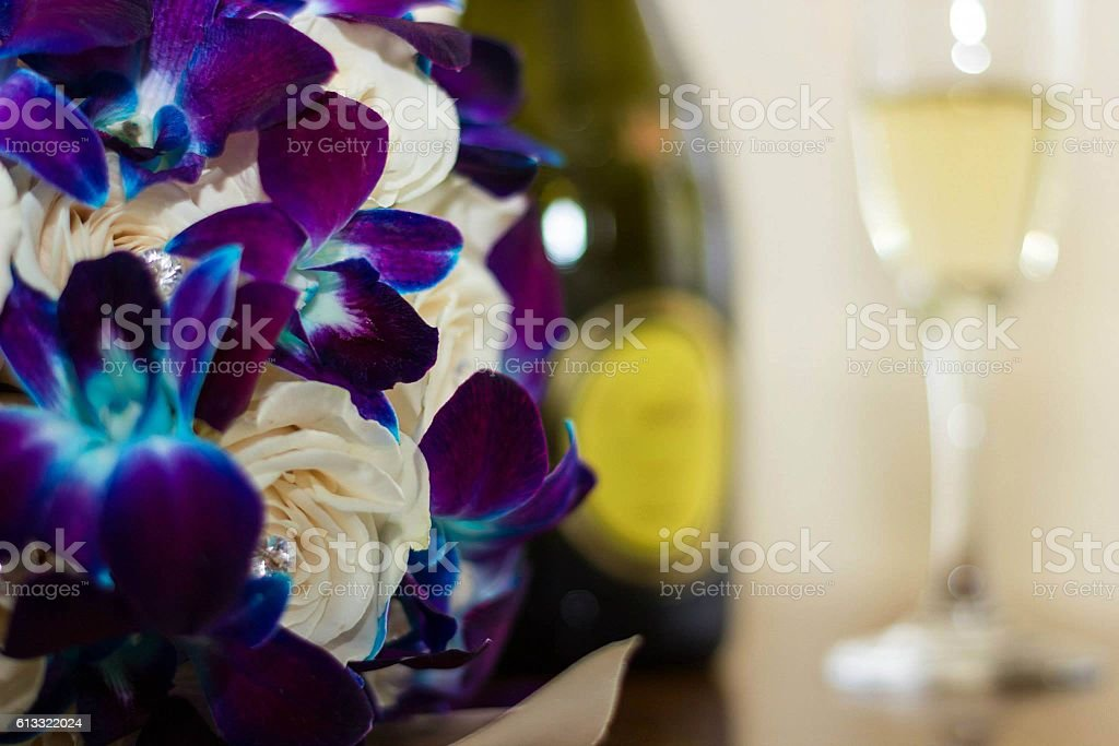 wedding flower bouquets /Champagne stock photo