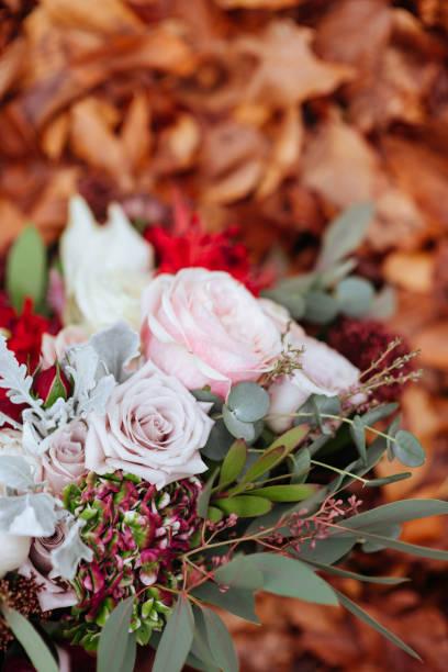 Wedding flowers, bridal bouquet closeup. stock photo