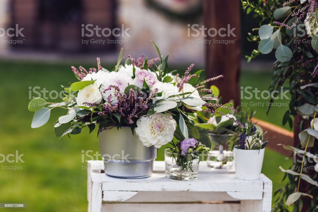 Wedding Flowers Decoration In The Restaurant Close Up Stock Photo Download Image Now Istock