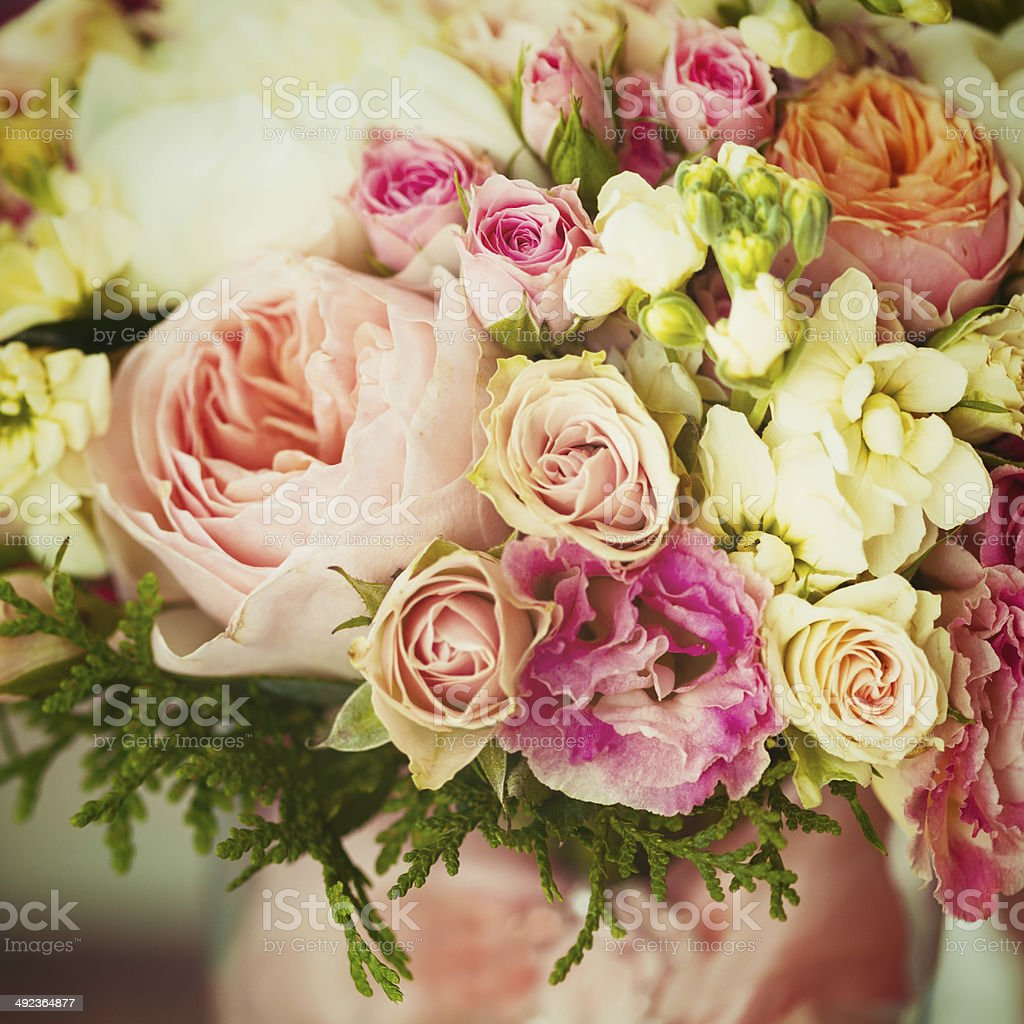 Wedding flowers. Instagram effect, vintage colors. stock photo