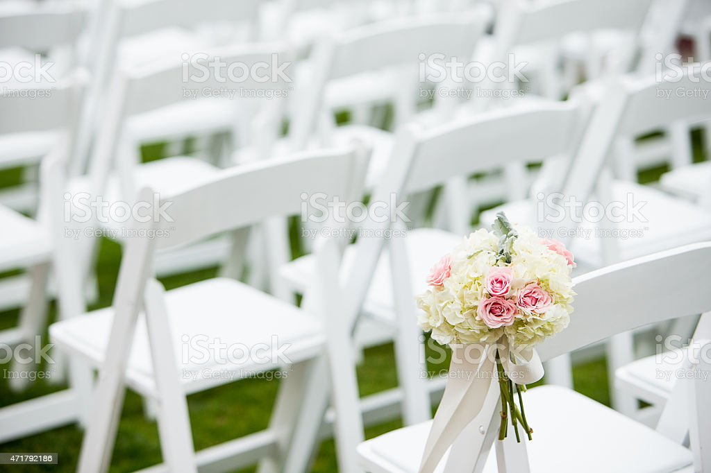 Wedding flowers with Roses, Hydrangea, and Dusty Miller stock photo