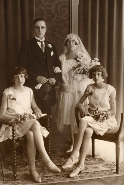 wedding from the thirties or twenties - 1920s style stock photos and pictures