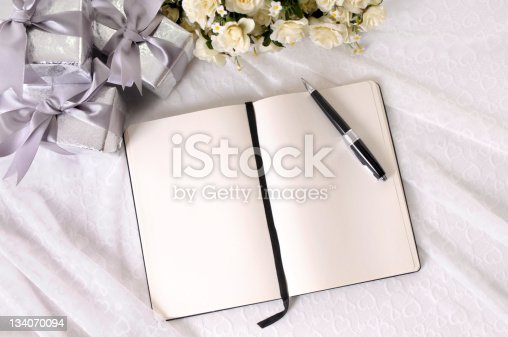 istock Wedding gifts and writing book 134070094