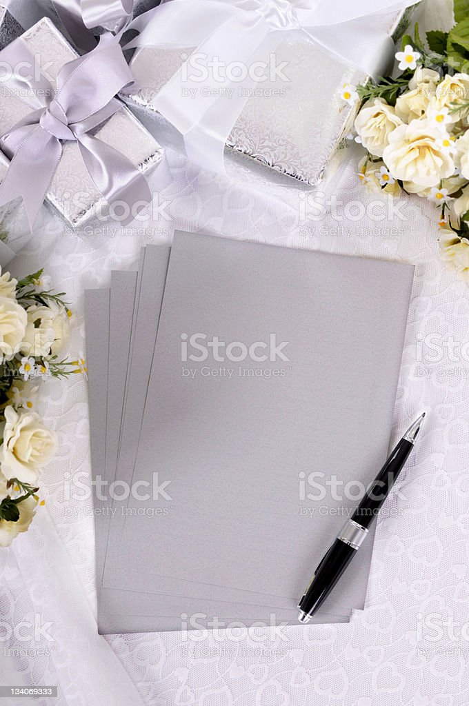 Wedding gifts with writing paper royalty-free stock photo